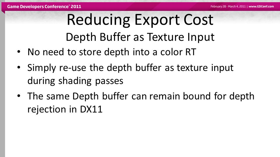Reducing Export Cost Depth Buffer as Texture Input