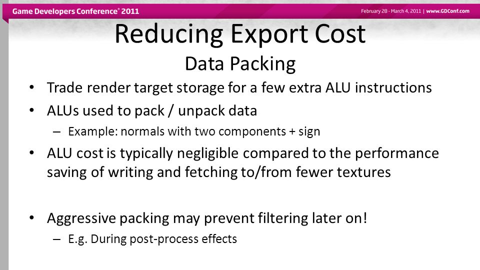 Reducing Export Cost Data Packing