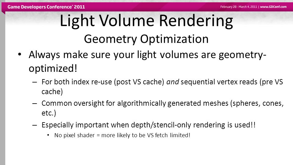 Light Volume Rendering Geometry Optimization