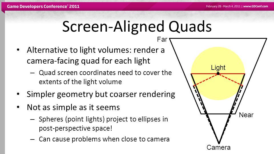 Screen-Aligned Quads Far. Alternative to light volumes: render a camera-facing quad for each light.