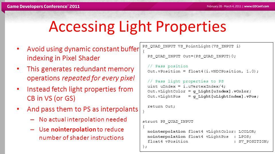 Accessing Light Properties