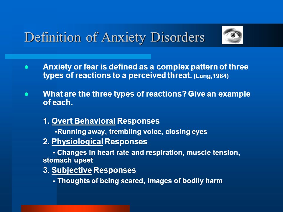 Definition of Anxiety Disorders