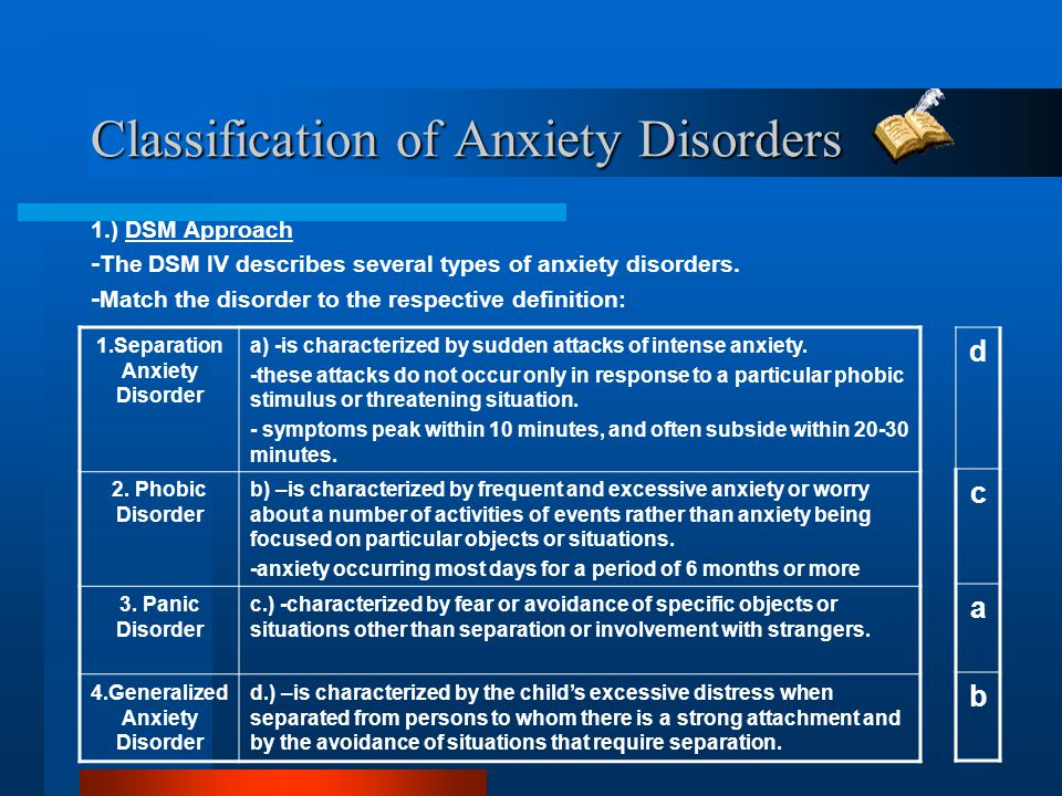 Classification of Anxiety Disorders