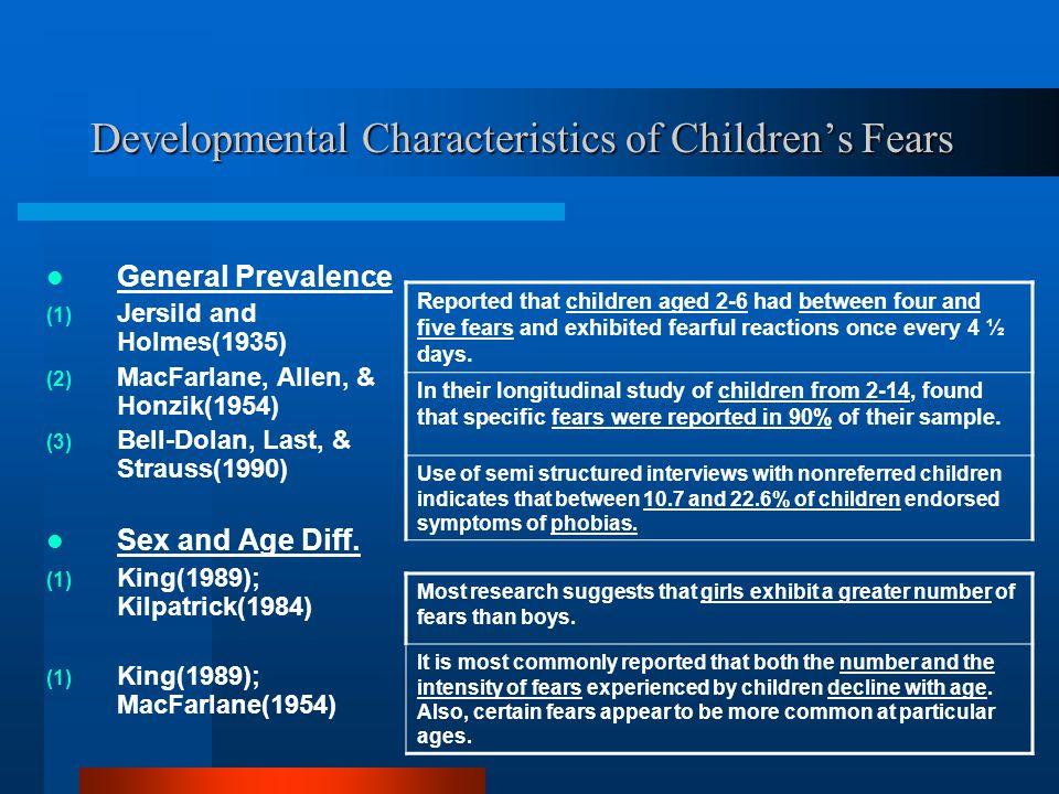 Developmental Characteristics of Children's Fears