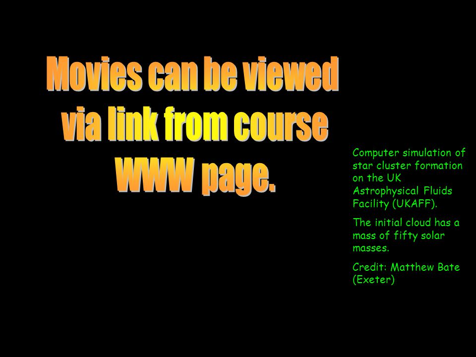 Movies can be viewed via link from course WWW page.