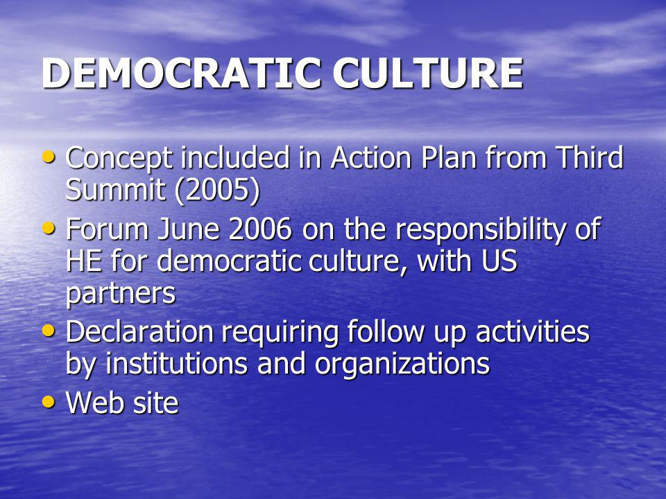 DEMOCRATIC CULTURE Concept included in Action Plan from Third Summit (2005)