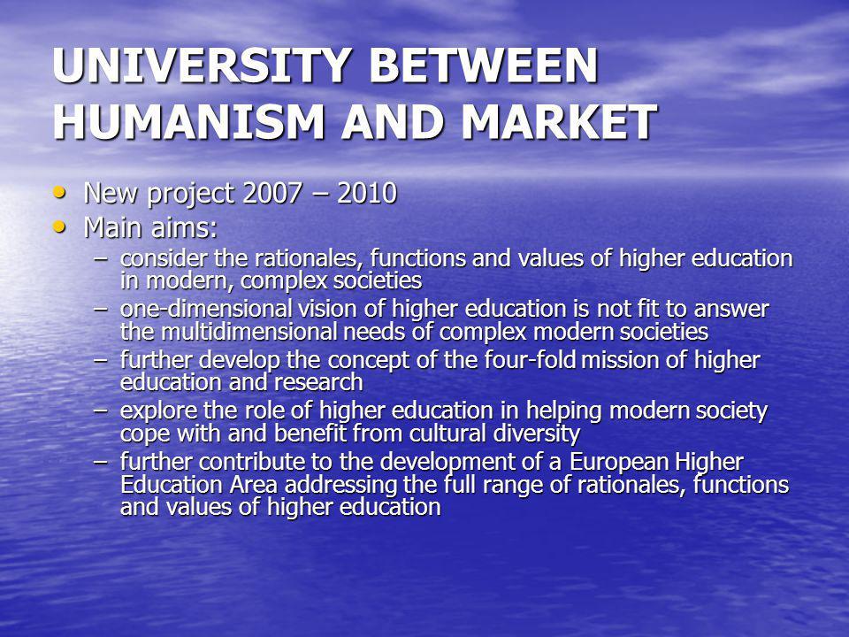 UNIVERSITY BETWEEN HUMANISM AND MARKET