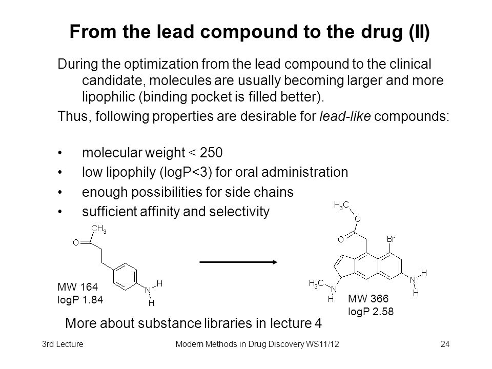 From the lead compound to the drug (II)