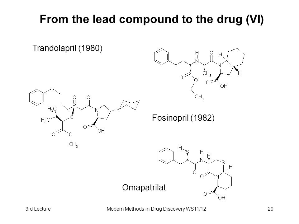 From the lead compound to the drug (VI)