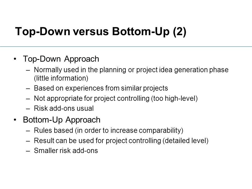 Top-Down versus Bottom-Up (2)