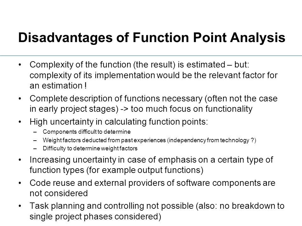Disadvantages of Function Point Analysis
