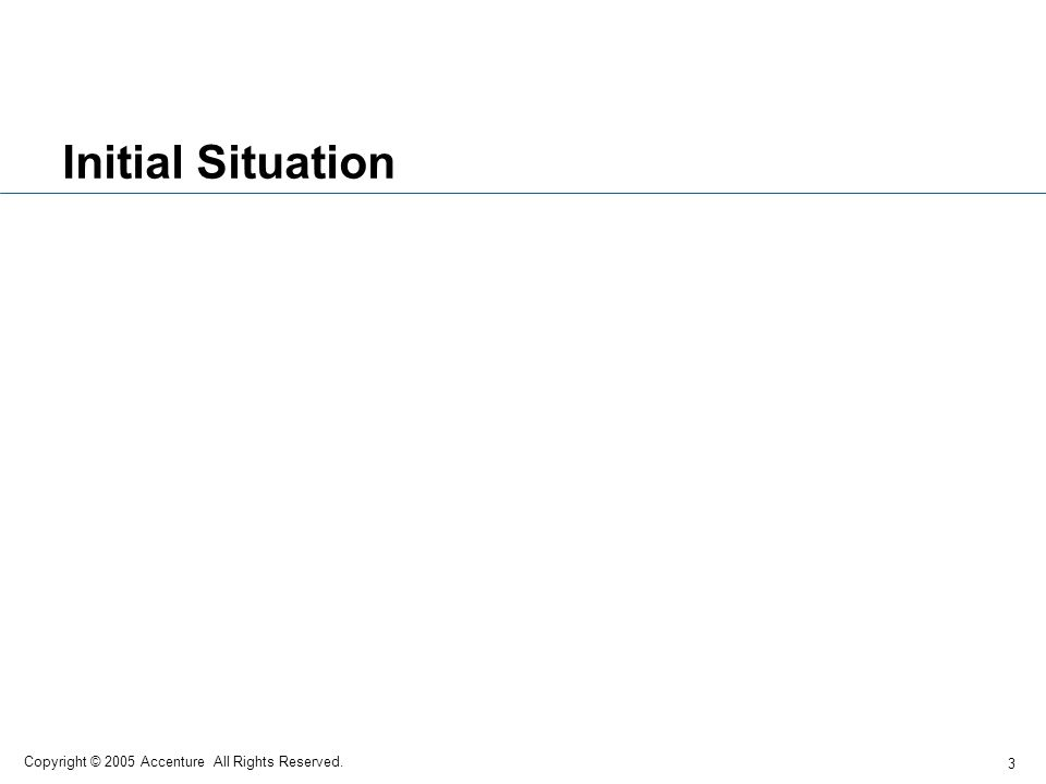 Initial Situation Copyright © 2005 Accenture All Rights Reserved.