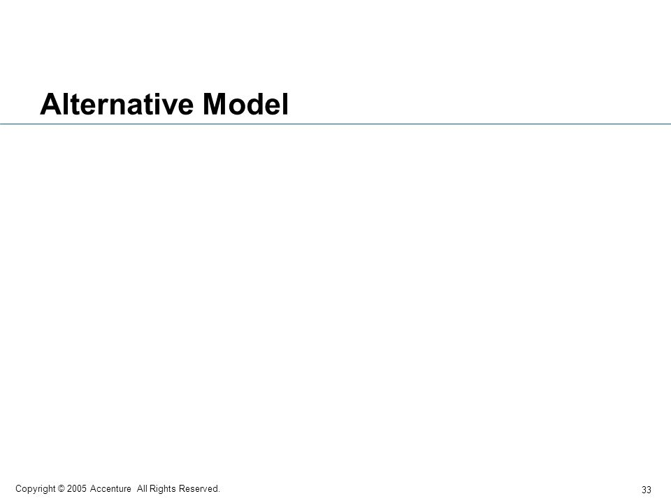 Alternative Model Copyright © 2005 Accenture All Rights Reserved.