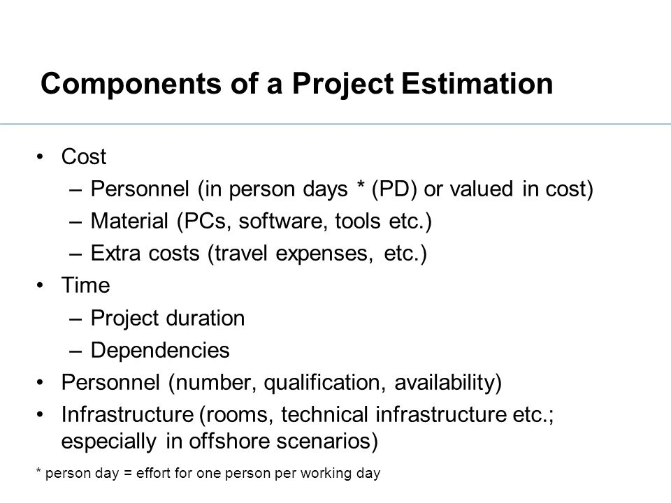 Components of a Project Estimation
