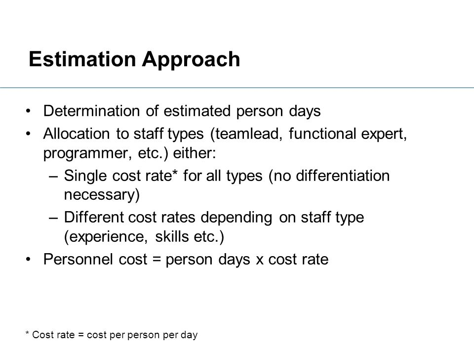 Estimation Approach Determination of estimated person days