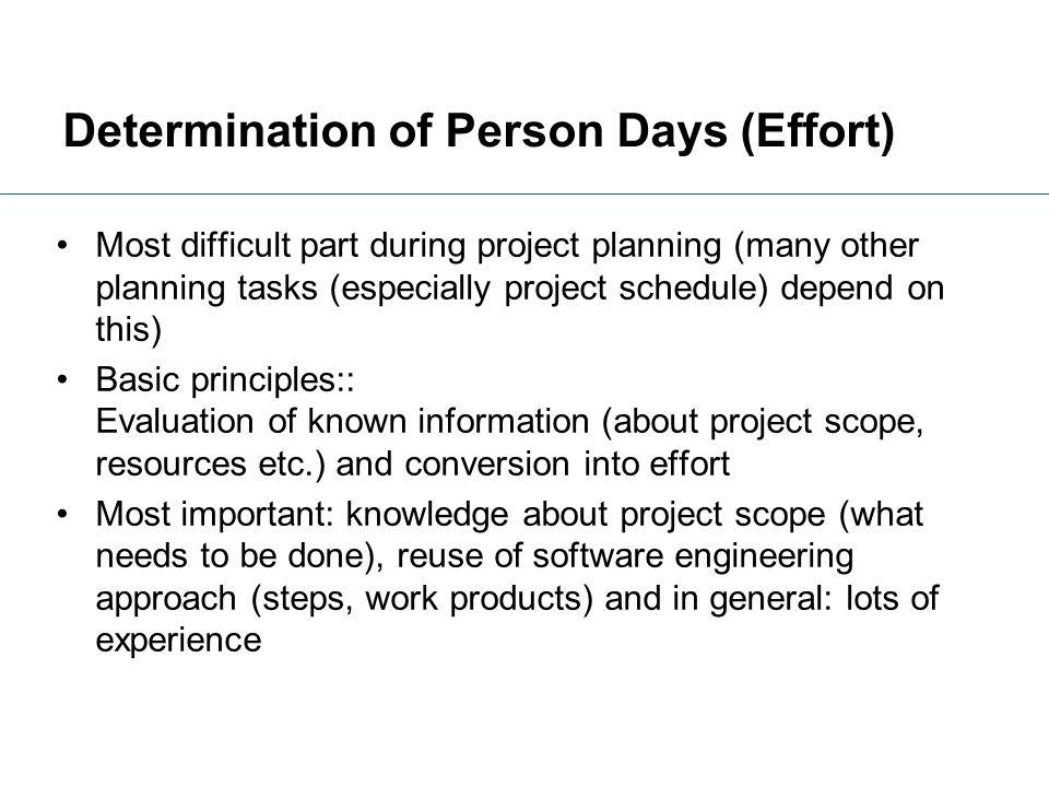Determination of Person Days (Effort)