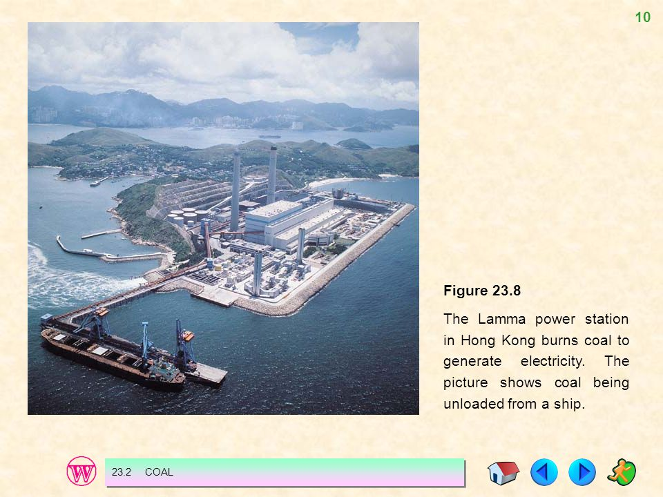 Figure 23.8 The Lamma power station in Hong Kong burns coal to generate electricity. The picture shows coal being unloaded from a ship.
