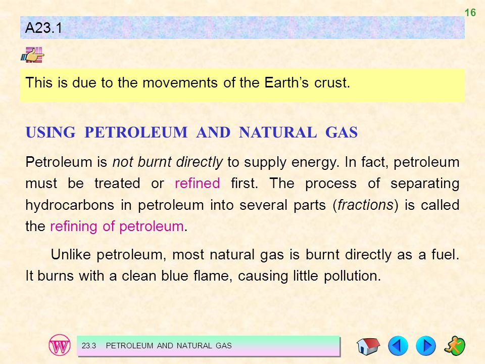 USING PETROLEUM AND NATURAL GAS