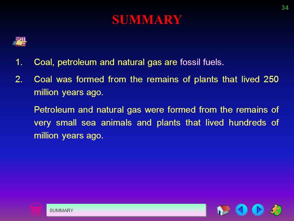 SUMMARY 1. Coal, petroleum and natural gas are fossil fuels.