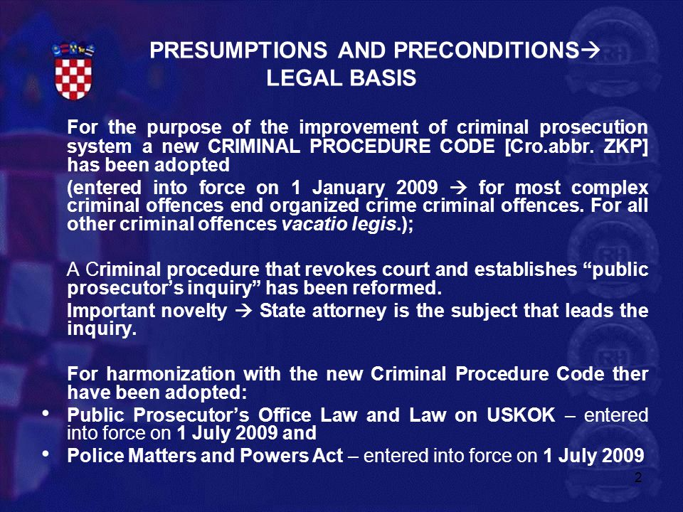 PRESUMPTIONS AND PRECONDITIONS LEGAL BASIS