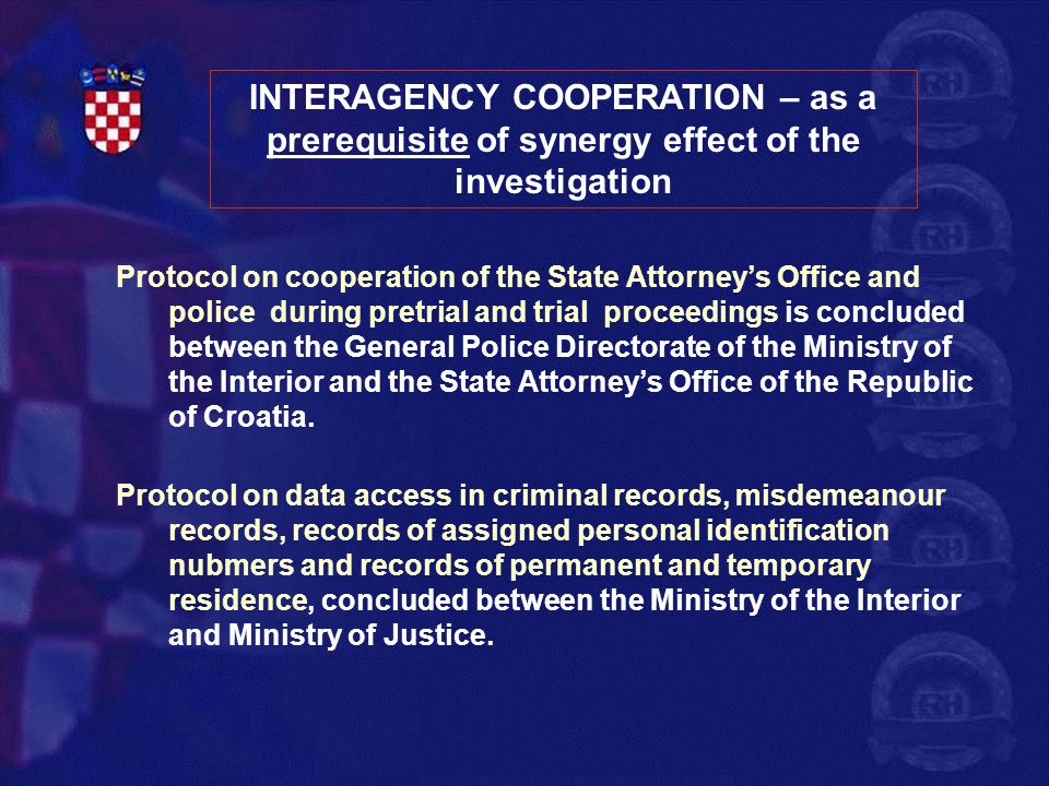 INTERAGENCY COOPERATION – as a prerequisite of synergy effect of the investigation