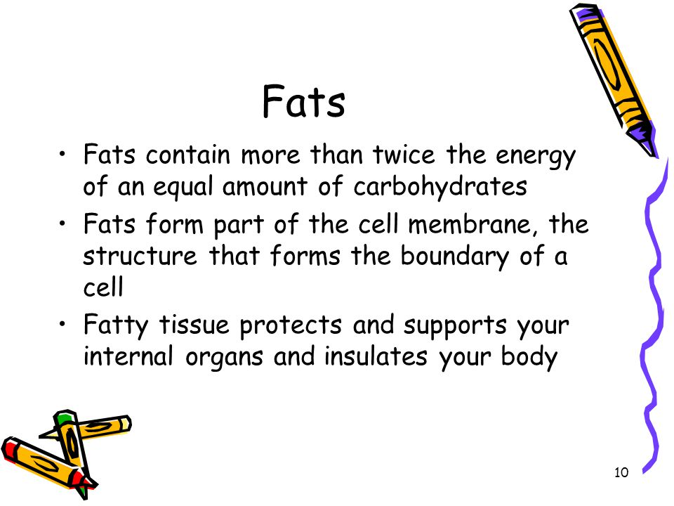 Fats Fats contain more than twice the energy of an equal amount of carbohydrates.