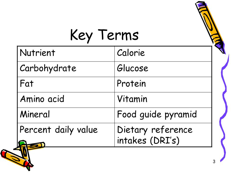 Key Terms Nutrient Calorie Carbohydrate Glucose Fat Protein Amino acid