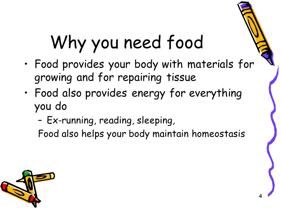 Why you need food Food provides your body with materials for growing and for repairing tissue. Food also provides energy for everything you do.