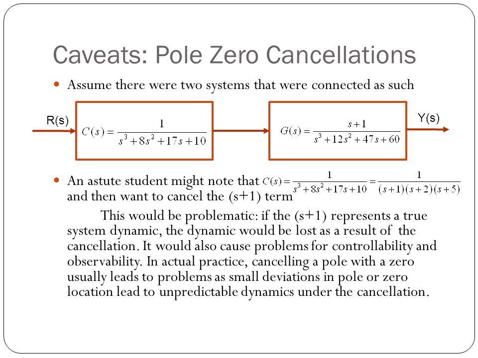 Caveats: Pole Zero Cancellations