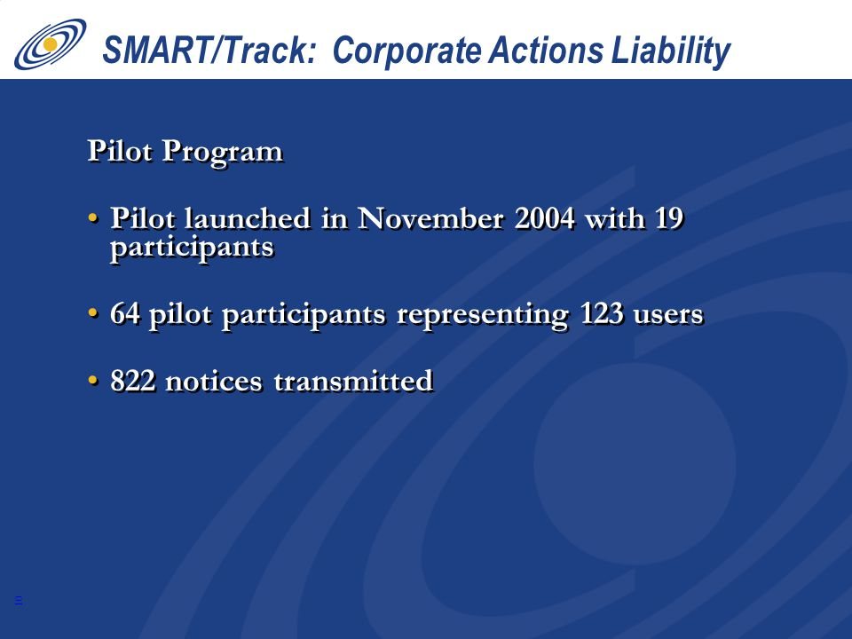 SMART/Track: Corporate Actions Liability