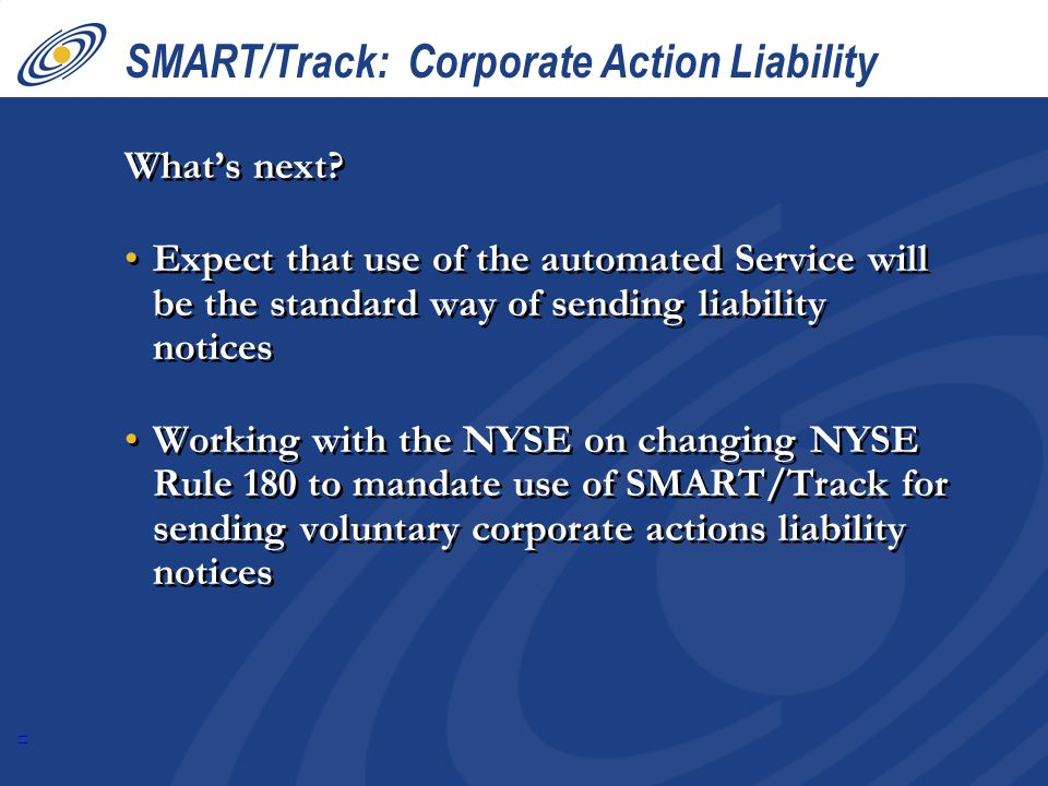 SMART/Track: Corporate Action Liability