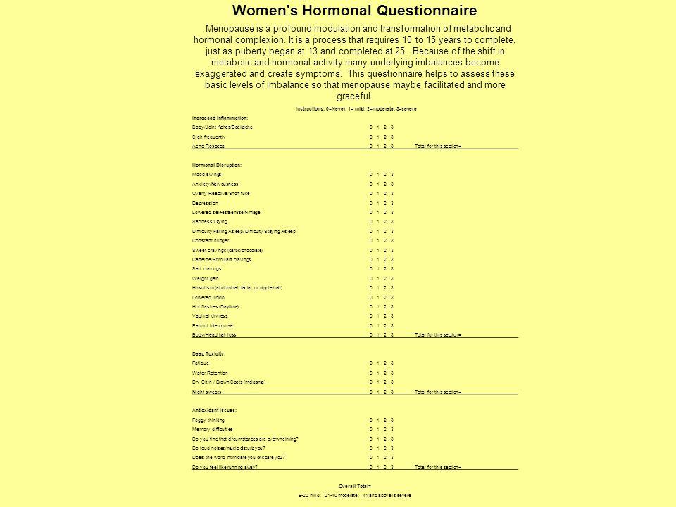 Women s Hormonal Questionnaire