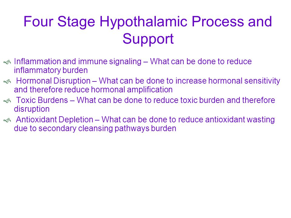 Four Stage Hypothalamic Process and Support