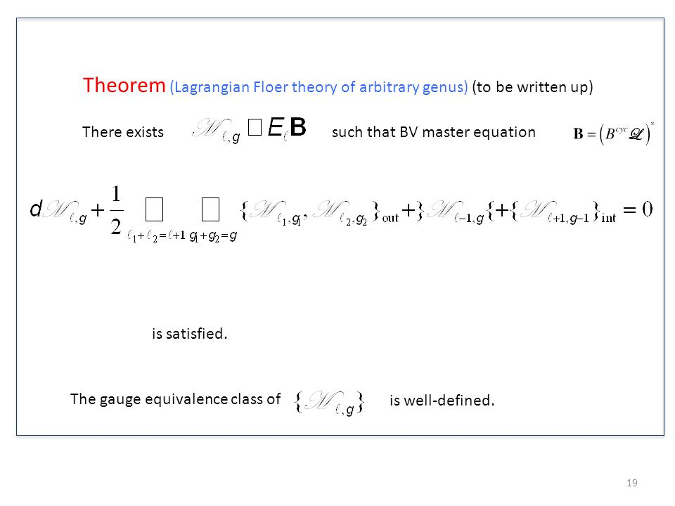 Theorem (Lagrangian Floer theory of arbitrary genus) (to be written up)