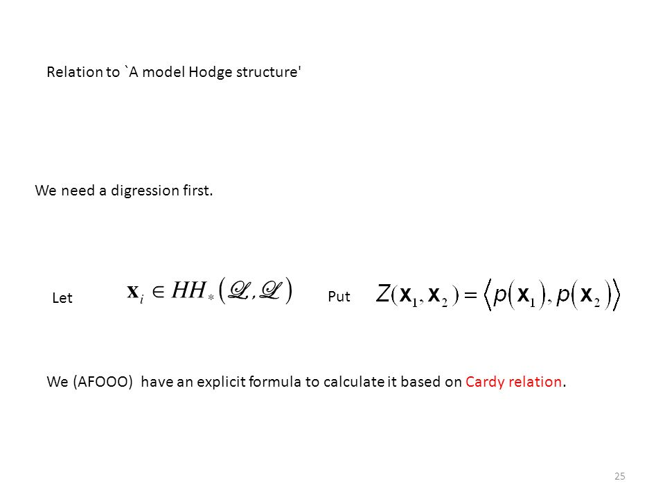 Relation to `A model Hodge structure