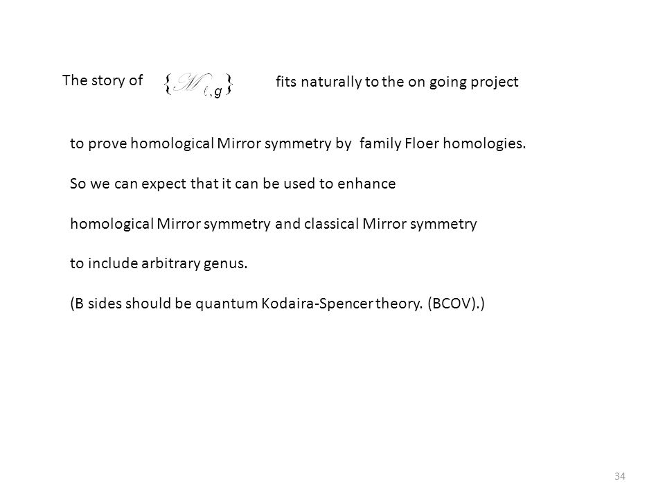 The story of fits naturally to the on going project. to prove homological Mirror symmetry by family Floer homologies.