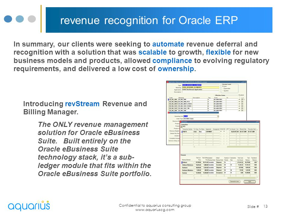 revenue recognition for Oracle ERP