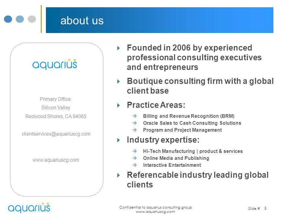 Confidential to aquarius consulting group