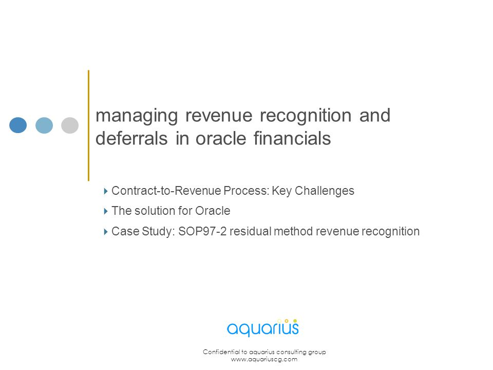 managing revenue recognition and deferrals in oracle financials