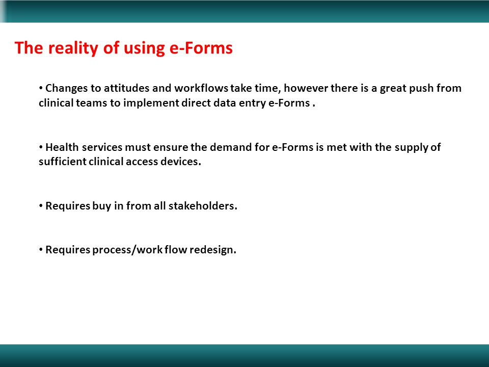 The reality of using e-Forms