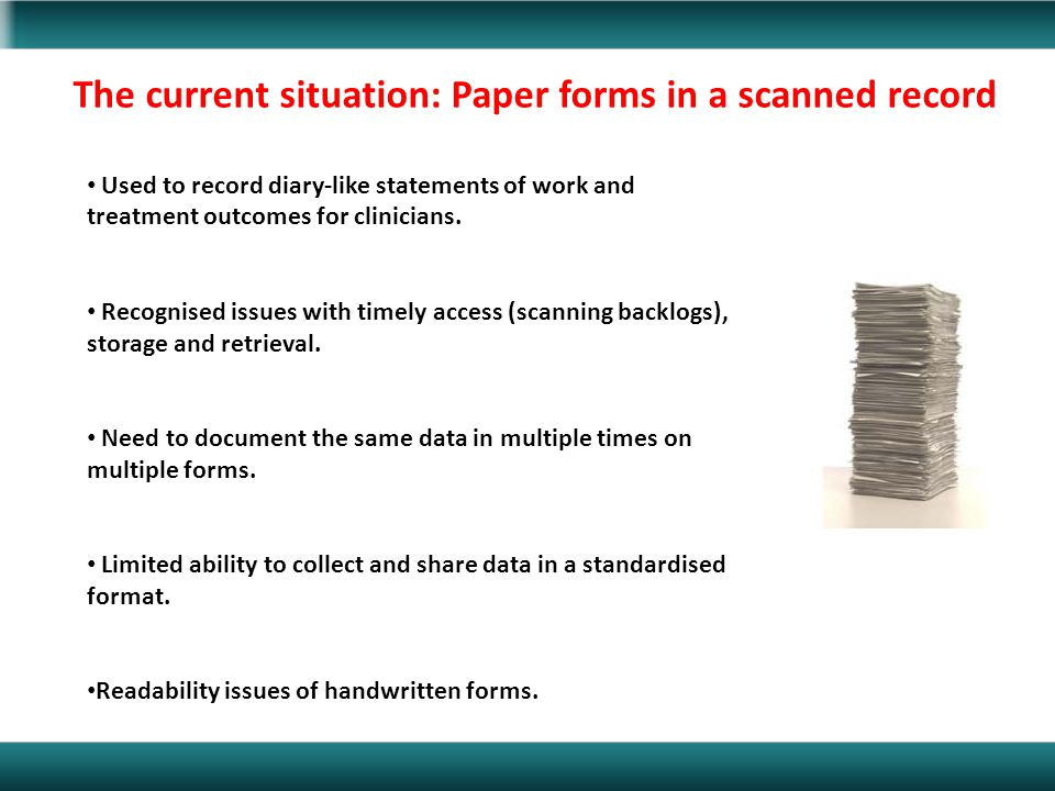 The current situation: Paper forms in a scanned record