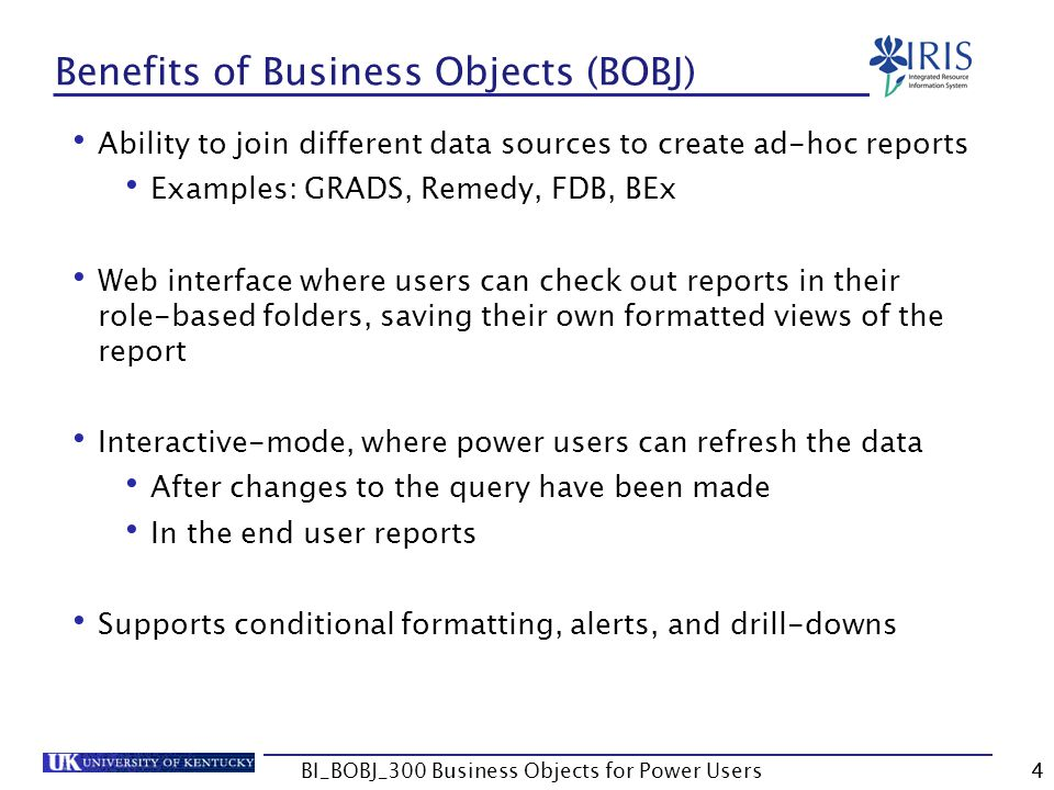 Benefits of Business Objects (BOBJ)