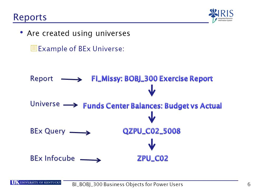 Reports Are created using universes Example of BEx Universe: Report