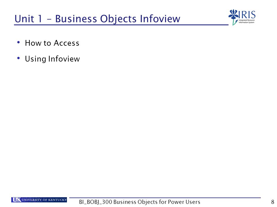 Unit 1 – Business Objects Infoview