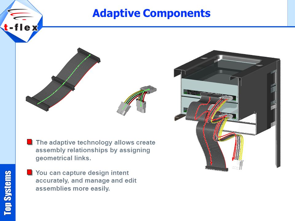 Adaptive Components The adaptive technology allows create assembly relationships by assigning geometrical links.