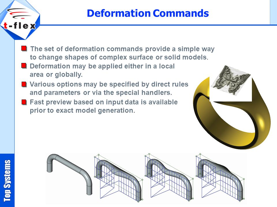 Deformation Commands The set of deformation commands provide a simple way to change shapes of complex surface or solid models.