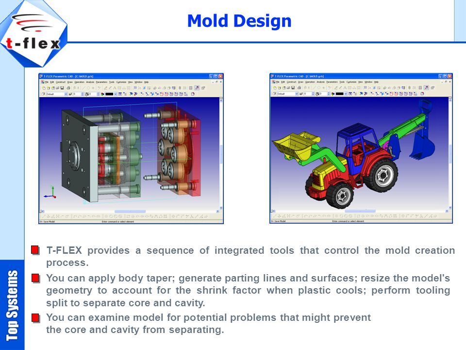 Mold Design T-FLEX provides a sequence of integrated tools that control the mold creation process.
