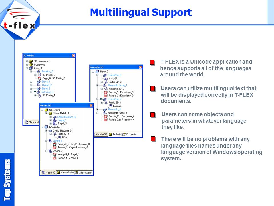 Multilingual Support T-FLEX is a Unicode application and hence supports all of the languages around the world.