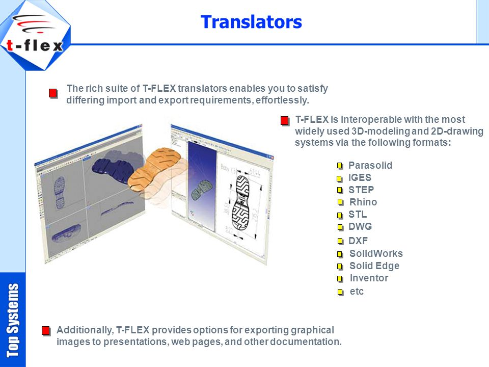 Translators The rich suite of T-FLEX translators enables you to satisfy differing import and export requirements, effortlessly.