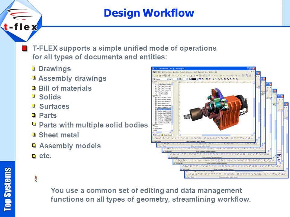 Design Workflow T-FLEX supports a simple unified mode of operations for all types of documents and entities: